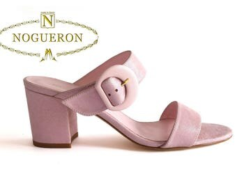 MARINA CANDY HEEL -  Heeled Sandals, womens shoes, leather, pink color, glitter, Spring Summer, Nogueron