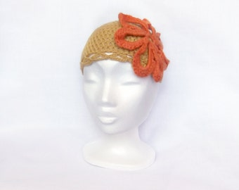 crochet hat, free size, merino wool, alpaca wool, crochet flower, orange flower, hand crochet hat, ethical, crochet, floral accessories