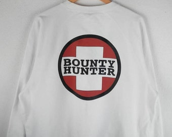 RARE!!! Bounty Hunter Big Logo Crew Neck White Colour Sweatshirts Hip Hop Swag L Size