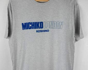 RARE!!! Michiko London Koshino Big Logo SpellOut Crew Neck Light Grey Colour T-Shirts M Size