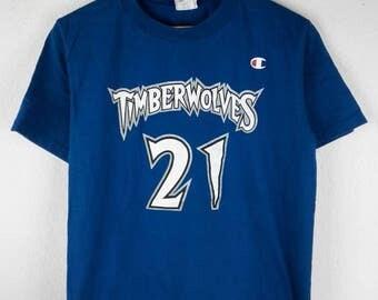 RARE!!! Timberwolves Garnett 21 Big Logo By Champion Crew Neck Blue Colour T-Shirts M Size
