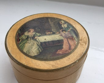 Round Wooden Box Metal Lined Lady in Waiting