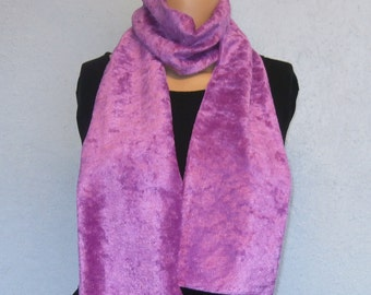Dark Lilac Pink Crushed Velvet Scarf 15 cm x 150 cm Women's / Ladies Lovely Soft And Warm Great Accessory Gift