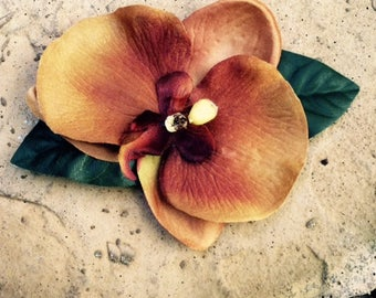 Brown  orchid tropical silk flower hair clip