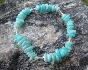 Amazonite Chips Braclet combined with Clear Quartz and 925 Silver