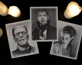 "Complete Set of 3 of Classic Horror Monsters: Dracula, Frankenstein and the Bride, Limited Edition Prints, 8"" x 10"", signed and numbered"