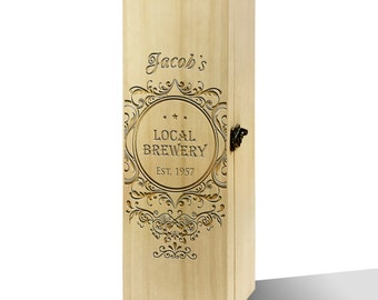 Personalised Local Brewery Luxury Wooden Wine Box