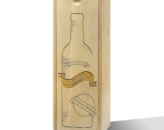 Personalised Brewed & Bottled Wooden Wine Box
