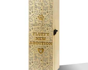 Congratulations On Your Fluffy New Addition Plain Luxury Wooden Wine Box