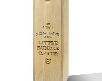 Congratulations Little Bundle Of Fur Slide Wooden Wine Box