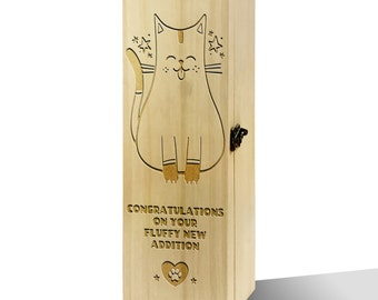 Fluffy New Addition Cat Plain Luxury Wooden Wine Box