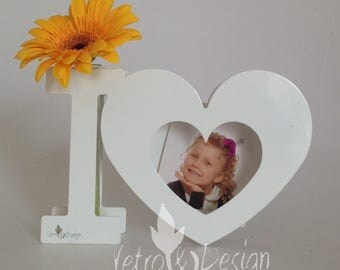 """Vase """"I <3"""" I Love, Blown Pyrex Glass, Steel or Metal White Painted, Anniversary Gift, Valentine's Day, HandMade in Italy"""