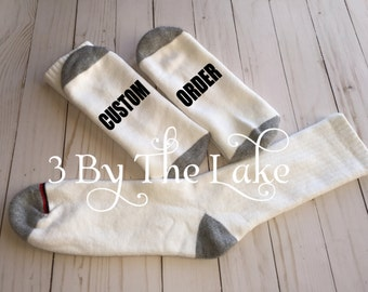 Custom Personalized Men or Women sSocks with Vinyl Words on Sole of Foot
