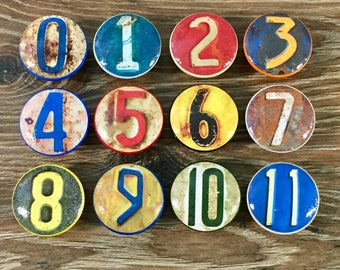 1.5 inch vintage numbers cabinet knobs drawer pulls multicolored