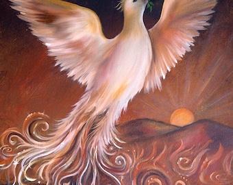 Phoenix Rising Art Print, Wall Art, Home Decor, Sunrise, Yoga, Spiritual Art, Meditation