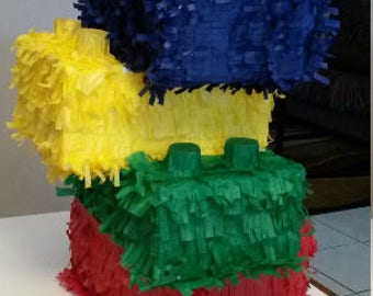 4 stacked up Lego Bricks Piñata. Handmade. New