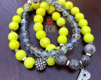 Yellow - Howlite, Jade & Crystal Stax