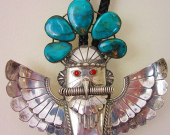 Bolotie, Kachina, Thunderbird, Sterlingsilber, Turquoise, Coral, Handwork, Native, Navajo, Collectible,