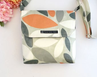 Fabric crossbody bags, fabric bags, crossbody bag, orange bag, orange handbag, oilcloth bags, vegan bag, orange purse