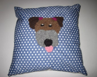 Terrence Terrier Spotty Cushion