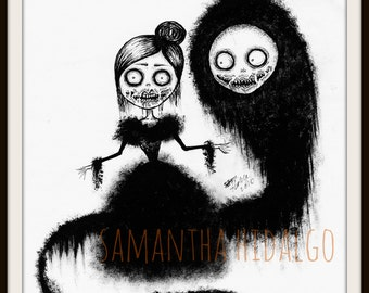 "Cute Creepy Pop Surrealism 8x10 Art Print on Card Stock ""GHOST"""