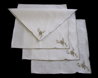 """Four Linen Napkins, Embroidered Napkins, Set of Four Off-White Linen Tea Napkins, Luncheon Napkins, Taupe Embroidered – 10"""" x 10.5"""" (cv1888)"""