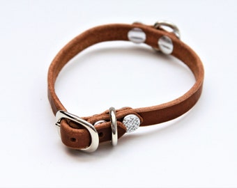 X-Small Genuine Leather Dog Collar (Walnut) 12''