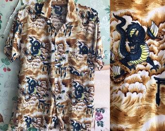 Vintage Mens Hawaiian Button Up Novelty Shirt. Medium. Dragon, ships, brown, blue, kitschy.