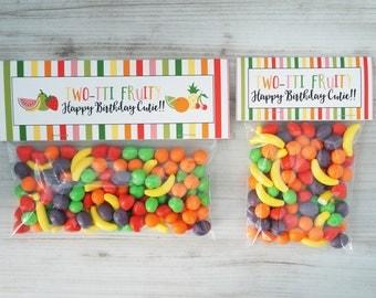 Tutti Fruitti Treat Bag Toppers - Twotti Frutti  Bag Toppers - Fruit Party Favor - Tutti Fruitti Treat Topper - Fruit Party Favor