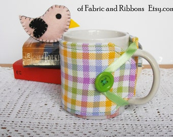 Cup cozy. Checked fabric cup cosy. Handmade cup cosy.