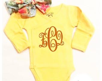 Customized, organic baby bodysuit and headwrap