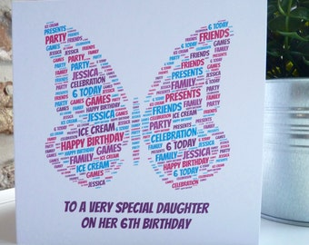 Personalised Butterfly Birthday Card, Personalised Child's Birthday Card, Personalised Birthday Card, Butterfly Card