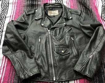 Vintage Wilson Leather Jacket Motorcycle Size 44 Some defects punk rock