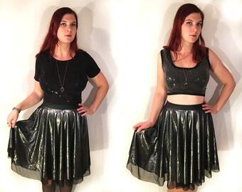SALE 50% OFF Black and Silver Skirt, Metallic Skirt, Circle Skirt, Skater Skirt, High Waisted Skirt, Twirl Skirt, Full Skirt, Layered Skirt