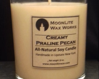 Creamy Praline Pecan Handmade Scented Soy Candle|  Hand Poured Candle | Bakery Scent | Natural Candle | Sweet Scent | Tan Candle