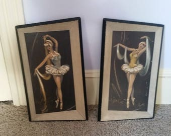 vintage framed ballerina pictures by Cydney