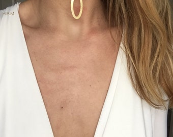 Handmade tan brown faux suede choker with gold dangle pendant