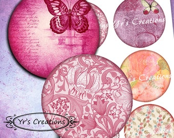 SHABBY CHIC 3.5 inch circles - 6 Printable Circle Images -  for journaling, mixed media, scrapbooking and paper crafts
