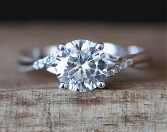 Forever Classic Moissanite Engagement Ring 6.5mm Round Cut Moissanite Ring Crossed Ring Band 14K White Gold Ring Brilliant Engagement Ring