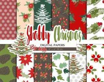 50% OFF SALE  Christmas Digital Paper pack, Holiday digital paper, Shabby Christmas pattern, Scrapbook Paper, Printable Background, 12 JPG.