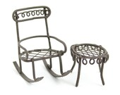 "50089MDI Micro Mini Rocking Chair with Table -rustic -table 3/4"" tall x 7/8 diam, rocking chair 1 3/4"" tall x  7/8"" wide x 1 1/2"" deep 1 pkg"
