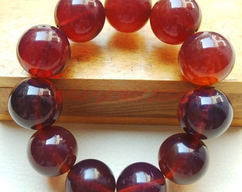 Only At My Shop - Natural Blue Amber Smooth Round Ball Bracelet, 21 MM, Amber Loose Gemstone Roundel Beads, Really High Quality