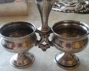 Silver stand for salt and pepper