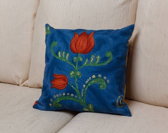 Blue Tulip Pillow Cover