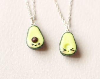 BFF  Avocado  Kawaii Necklace, vegan jewelry, avocado jewelry, miniature food friendship, best friend, kawaii charms, friendship necklace