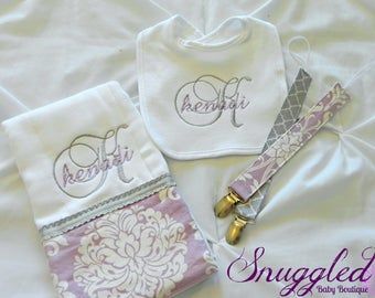 Monogrammed Damask Gift Set - Lilac & Gray