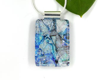 Ice blue and silver dichroic glass pendant