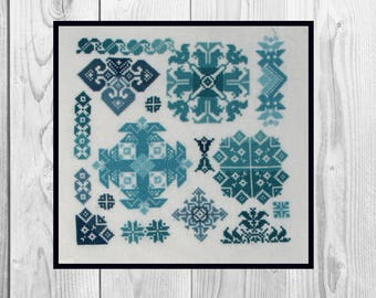 Folk cross stitch PATTERN, cross stitch pdf, modern cross stitch,  primitive cross stitch, folk art, geometric pattern, sampler/ NF_0217