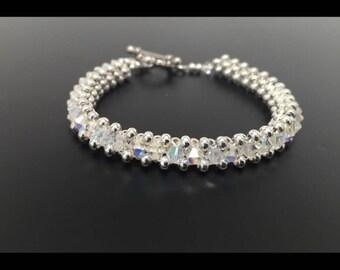 Clear Crystal bracelet, Crystal bracelet, Swarovski Crystal Bracelet, Silver Bracelet, Swarovski Bracelet, woven bracelet, beaded bracelet