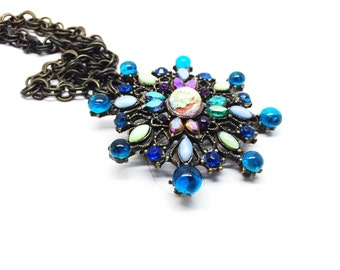 Huge Moon Glow and Glass Cabochon and Aurora Rhinestone Flower Chain Brooch Necklace